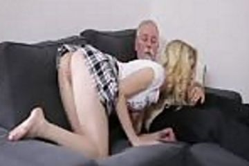 Horny young school girl fucks oldman
