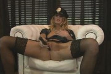 Hot blonde in police uniform fucks her friend