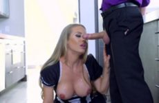 Woman cleaning with large breasts is full of cum