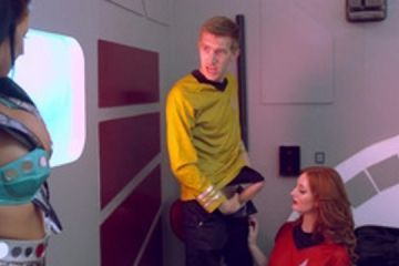 A Star Trek parody is a hot threesome with two girls