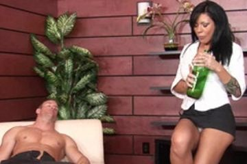 A busty milf wake the drunk guy with sex