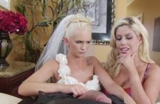 Young bride and her mother enjoy big cock together before the wedding