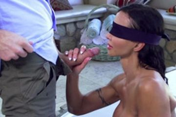 A milf with big tits has a surprise on the terrace of house