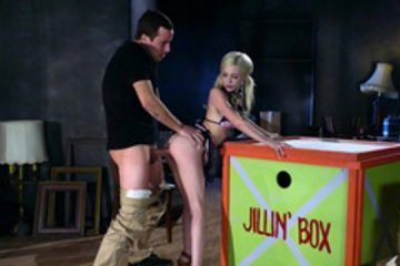 A young blonde with pigtails leaves the big box to fuck