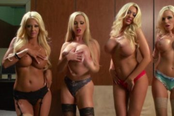 An orgy with four blonde girls with beautiful body