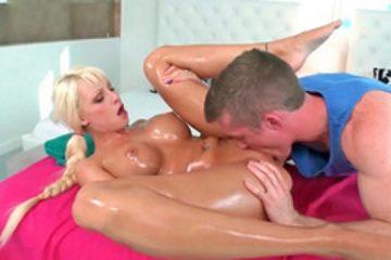 Beautiful blonde Rikki Six getting a massage and fucked hard