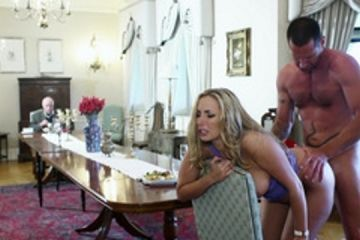 Blonde fucking at the dining table front of her father