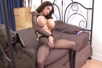Brunette with giant tits Amy Anderssen playing with her dildo