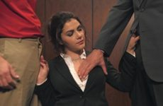 Horny secretary does a threesome in the elevator with 2 men