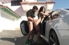 Latina pressed against the car and fucked in the backyard
