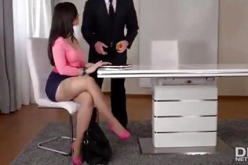 Sex in the office with spanish latina brunette