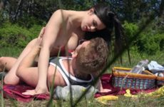 Sex session in the park with a brunette doll