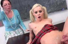 Teen blonde schoolgirl fucking in class