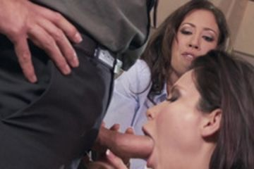 Threesome in the office with two hot girls naked