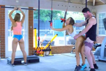 Abigail Mac and Nicole Aniston and Charles Dera perform threesome in the gym
