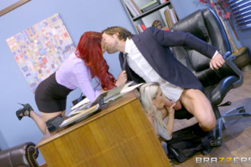 Rachel and Skyla share some office cock