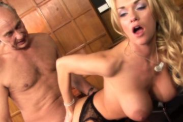 Busty blonde milf got her chocolate eye well polished on the desk