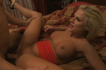 Playful blonde surprises dude in his room with a hard fuck