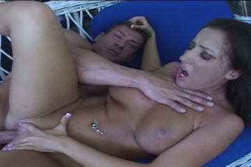 Neighbour hunk comes over to horny blonde's house and they fuck by the pool