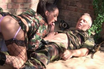 Whores in the army part 2 Brunette slut in her sexy fishnet bends over to take hard cock from the back