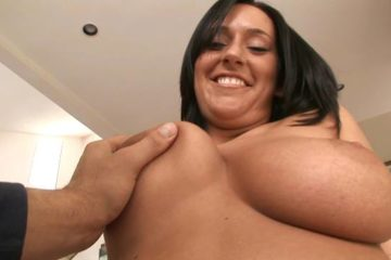 Sexy ass big tits black hair slut on couch sucking and fucking hot cock