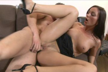 Brunette whore spreads her legs and takes a thick cock in her pussy