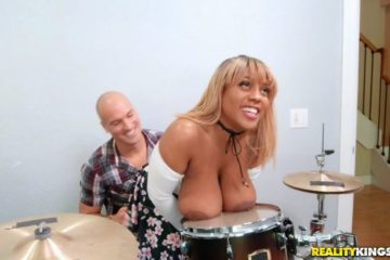 Busty black girl playing drums and fucking