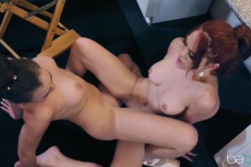 lesbians Blair Williams and Molly Stewart fucking in the dressing room