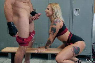 Horny blonde Stella Raee gives sexual support to the player