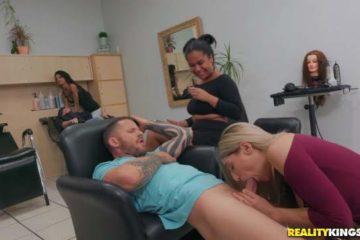 Blonde nymphomaniac doing sex in the beauty salon