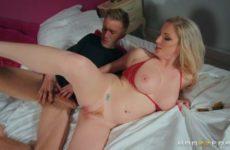 Blonde in bikini catches him masturbating