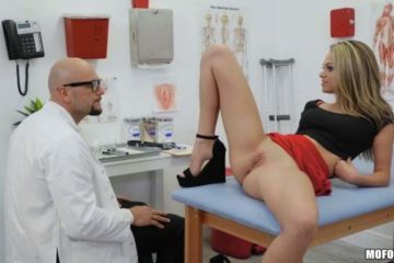 Blonde has sex with the doctor in his office