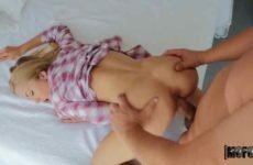 Blonde making love in her room with a guy