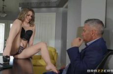 blonde in underwear has sex with the boss