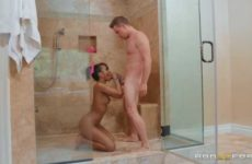 naked black girl doing interracial blowjob
