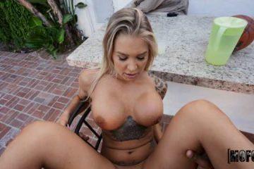 busty in bikini fucking in the garden