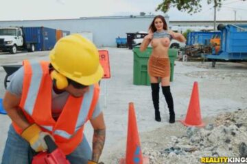 woman shows her breasts fucking with worker